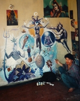 Fresque au Chand Kulvi en cours de réalisation